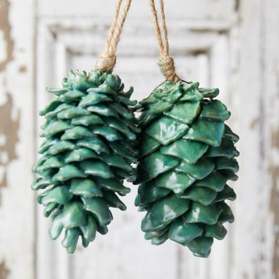Waxed Pine Cone Ornaments, Set of 2