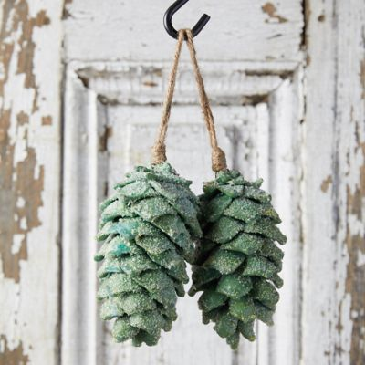 Iced Pine Cone Ornaments, Set of 2