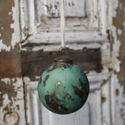 Oxidized Copper Glass Globe Ornament