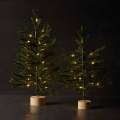 Faux Pre-Lit Tabletop Tree with Wood Base