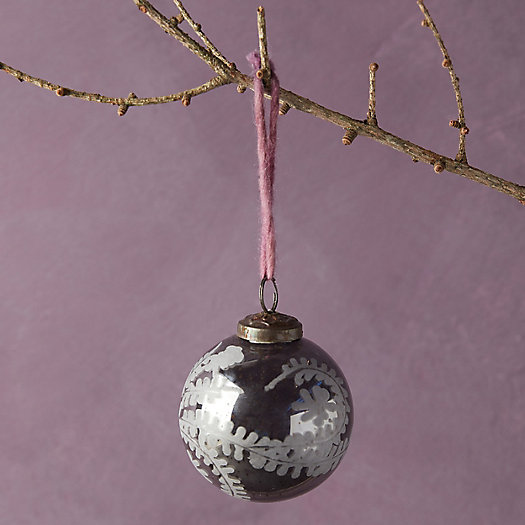 View larger image of Silver Etched Leaf Globe Ornament