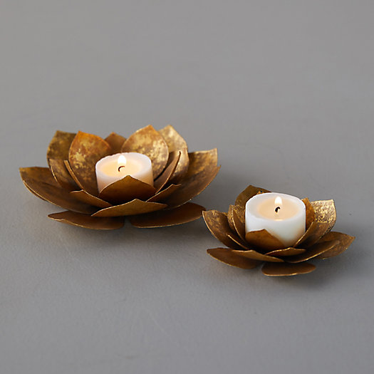 View larger image of Golden Sitting Flower Tea Light Holder