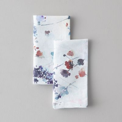 Lithuanian Linen Napkin Set of 2, Painted Florals