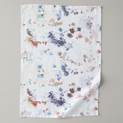 Lithuanian Linen Tea Towel, Painted Florals