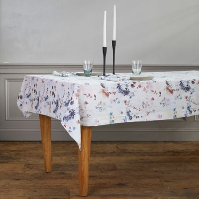 Lithuanian Linen Tablecloth, Painted Florals