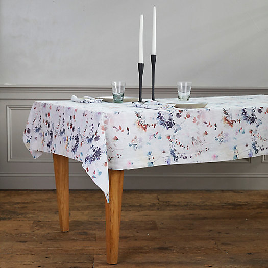 View larger image of Lithuanian Linen Tablecloth, Painted Florals