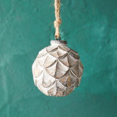 Scalloped Wood Globe Ornament