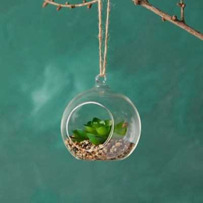 Faux Succulent Terrarium Ornament