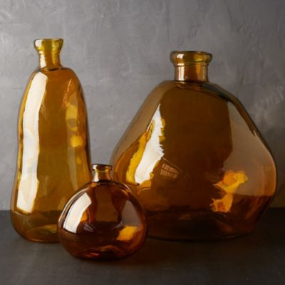 Recycled Glass Vase, Amber