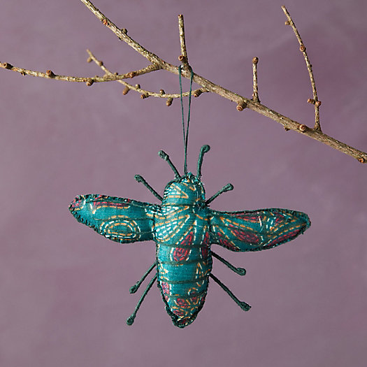 View larger image of Recycled Sari Fabric Bee Ornament