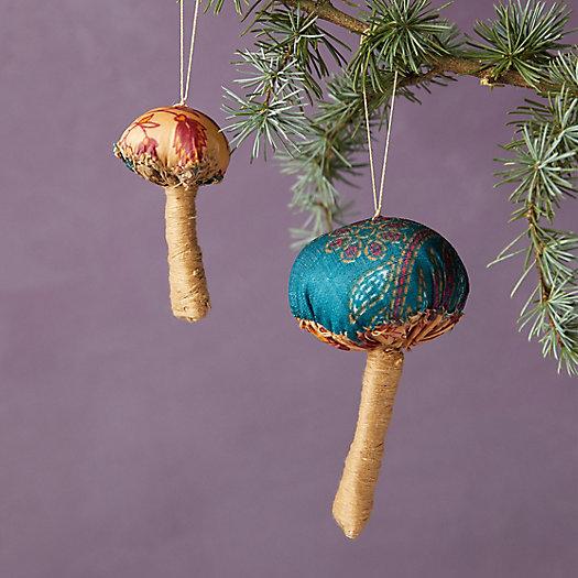 View larger image of Recycled Sari Fabric Mushroom Ornament