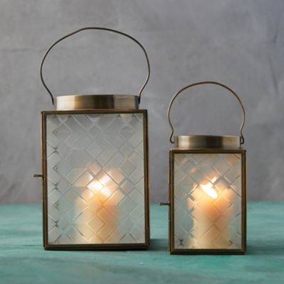 Wide Top Brass Lantern, Etched