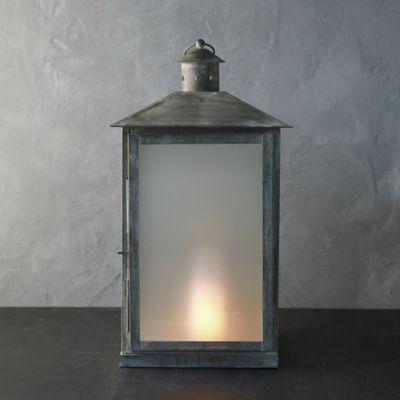 Landmark Galvanized Lantern, Silver