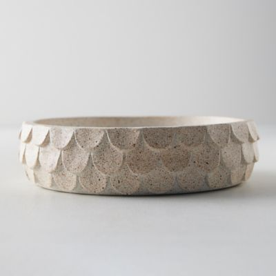 Scalloped Earthenware Decorative Bowl