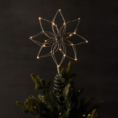 Pre-Lit LED Christmas Tree Topper, Flower