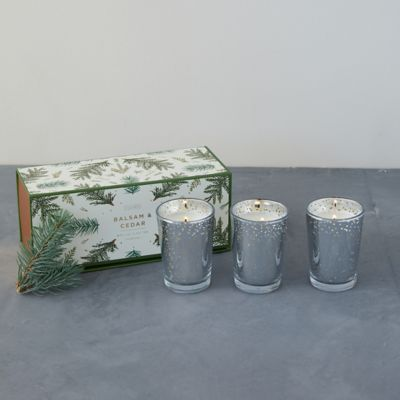 Illume Luxe Votive Candle Set of 3, Balsam + Cedar