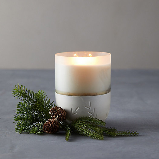 View larger image of Illume Frosted Glass Candle, Large Balsam + Cedar