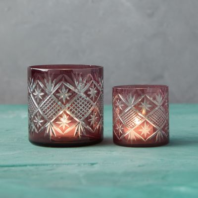 Purple Geo Glass Tea Light Holder