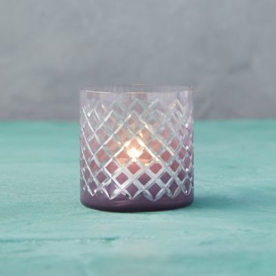 Purple Diamond Glass Tea Light Holder