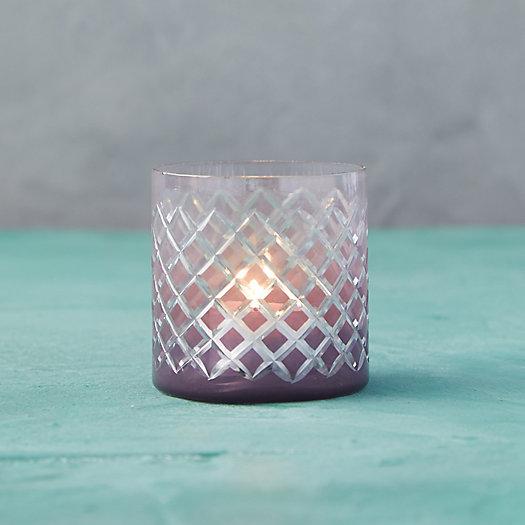 View larger image of Purple Diamond Glass Tea Light Holder