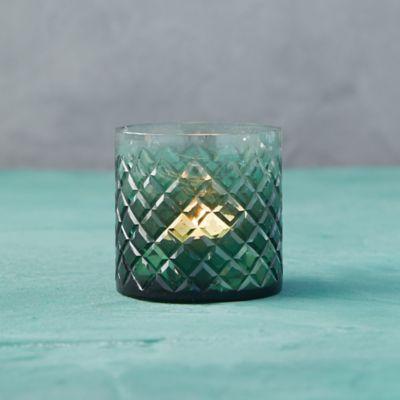 Green Diamond Glass Tea Light Holder