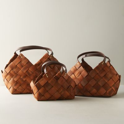 Woven Seagrass Basket with Leather Handles