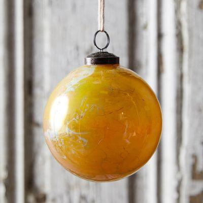 Gloss Marbled Yellow Glass Globe Ornament