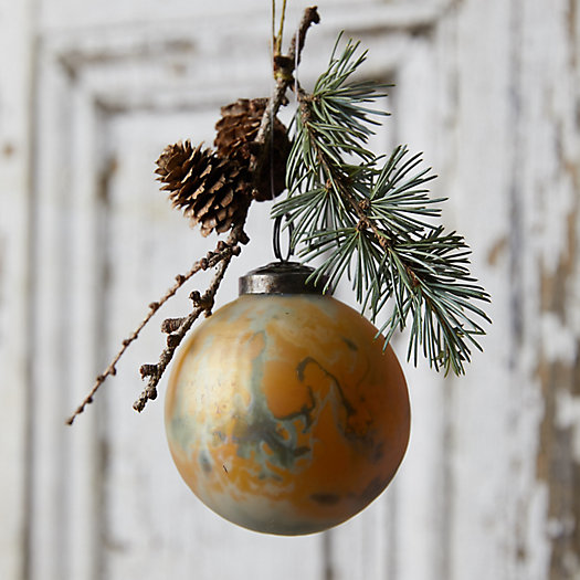 View larger image of Marbled Matte Yellow Glass Globe Ornament