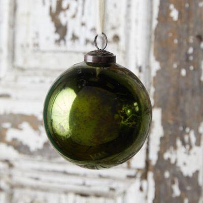Shiny Green Glass Globe Ornament