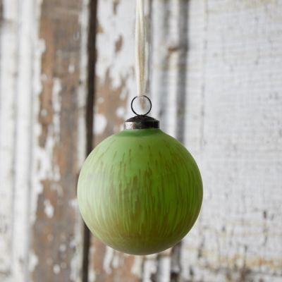 Green Stripe Glass Globe Ornament