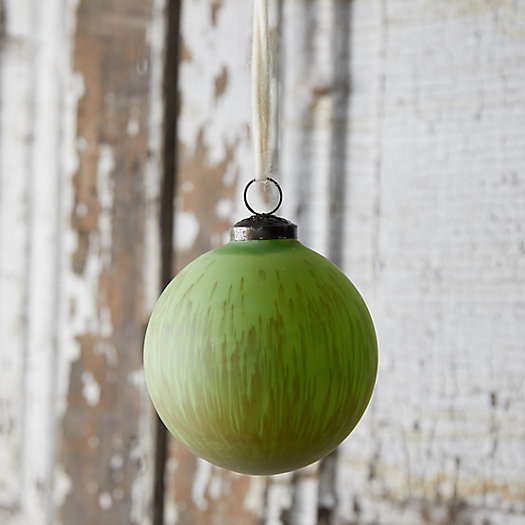 View larger image of Green Stripe Glass Globe Ornament