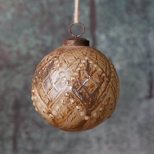 View larger image of Antiqued Diamonds Glass Globe Ornament