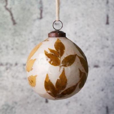 Leafy Glass Globe Ornament