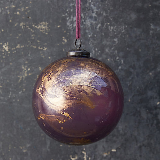 View larger image of Marbled Gold + Purple Glass Globe Ornament