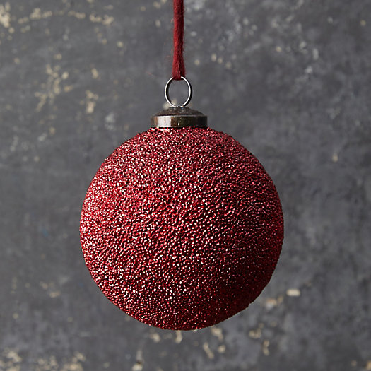 View larger image of Beaded Red Glass Globe Ornament