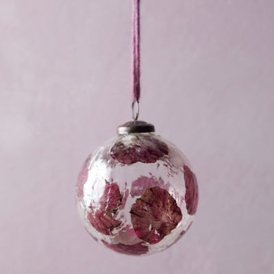 Purple Leaf Glass Globe Ornament