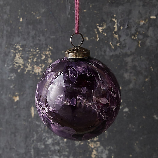 View larger image of Marbled White + Purple Glass Globe Ornament