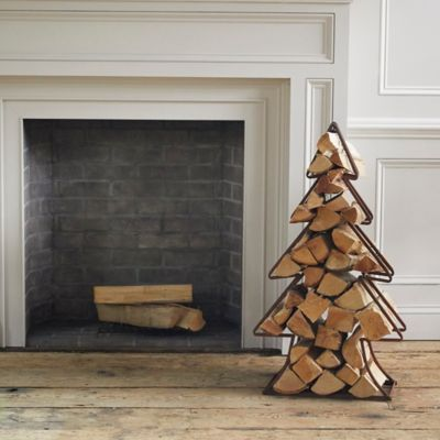 Iron Evergreen Tree Log Holder
