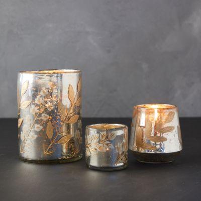 Golden Leaves Tea Light Holder