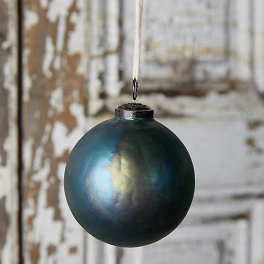 View larger image of Iridescent Green Crackle Glass Globe Ornament