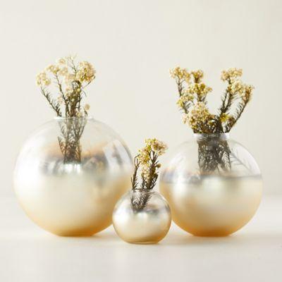 Gold Foil Bauble Bud Vases, Set of 3