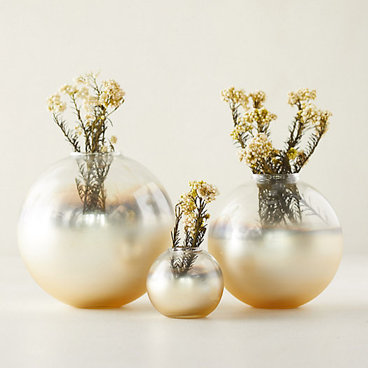 View larger image of Gold Foil Bauble Bud Vases, Set of 3