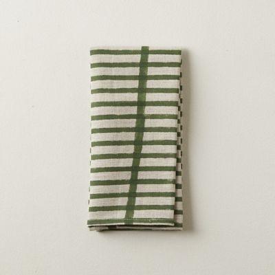 Olive Lines Linen Napkin