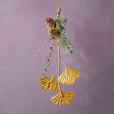 Gold Ginkgo Ornament
