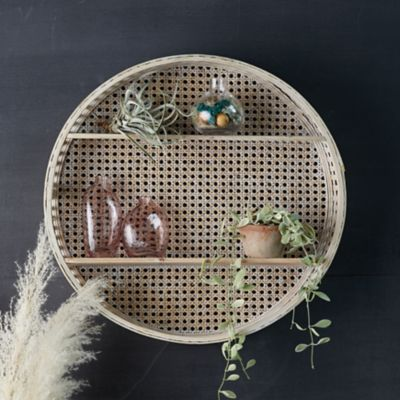 Round Rattan Wall Shelf