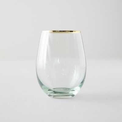 Gold Rim Stemless Wine Glass