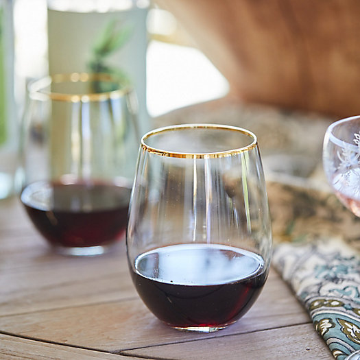 View larger image of Gold Rim Stemless Wine Glass