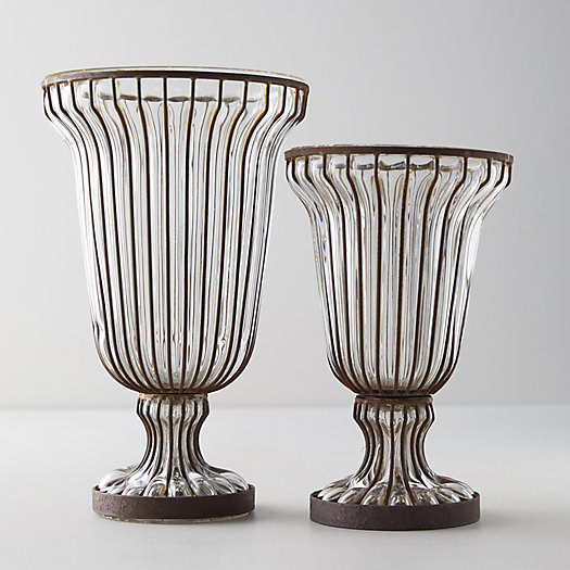 View larger image of Fluted Glass + Iron Vase