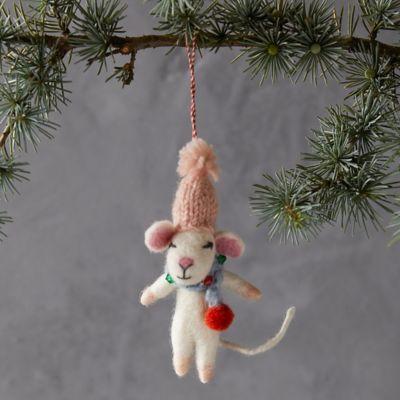 Pom Hat Mouse Felt Ornament