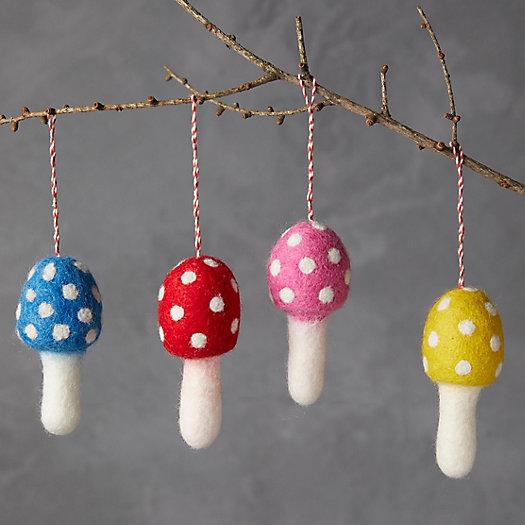 View larger image of Mushroom Felt Ornaments, Set of 4
